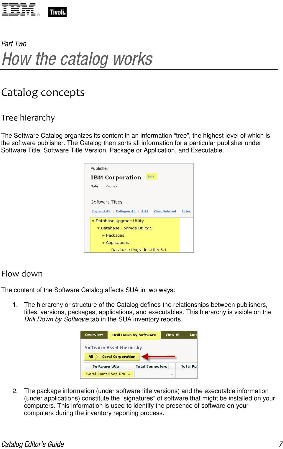 Flow down The content of the Software Catalog affects SUA in two ways: 1.