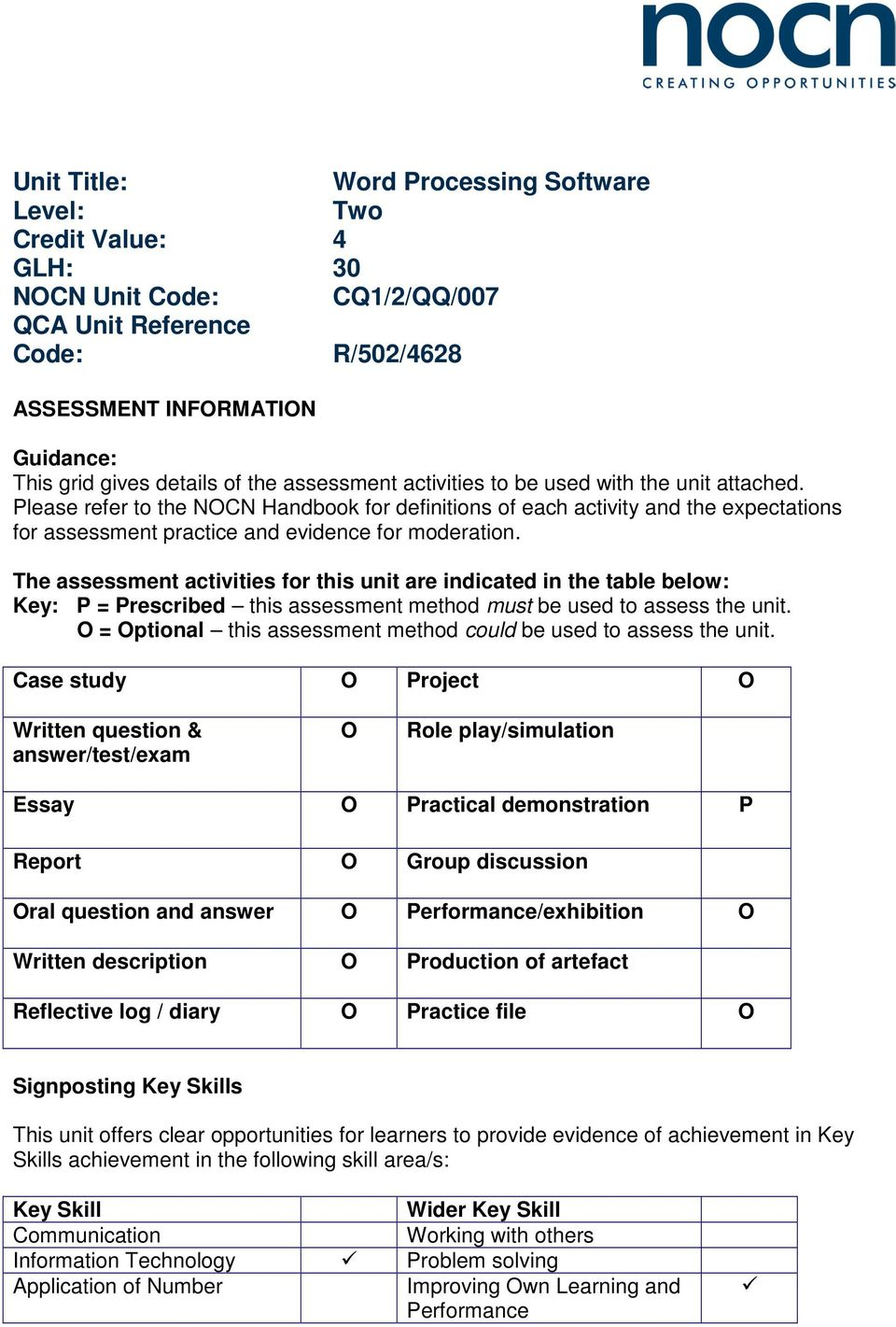 The assessment activities for this unit are indicated in the table below: Key: P = Prescribed this assessment method must be used to assess the unit.