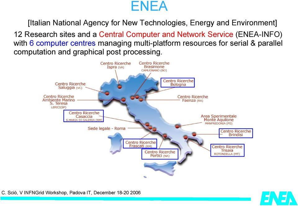 Service (ENEA-INFO) with 6 computer centres managing multi-platform