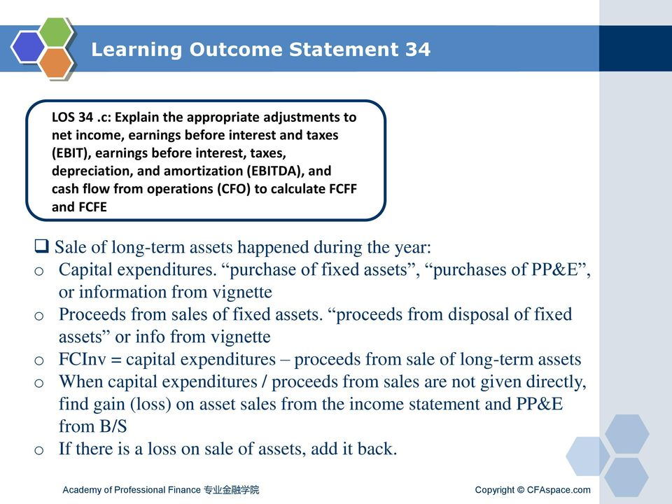 operations (CFO) to calculate FCFF and FCFE Sale of long-term assets happened during the year: o Capital expenditures.