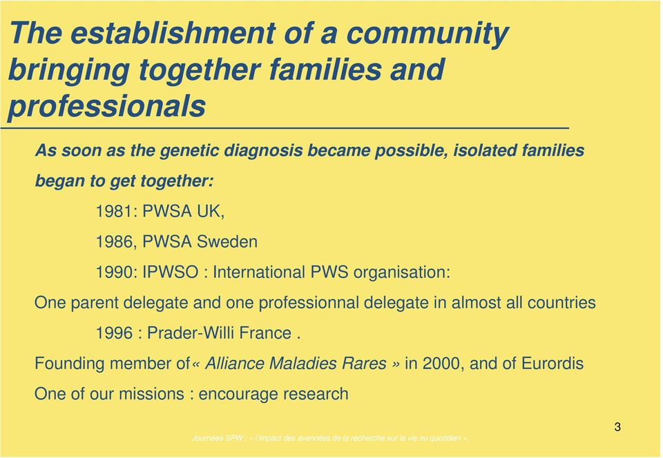 International PWS organisation: One parent delegate and one professionnal delegate in almost all countries 1996 :
