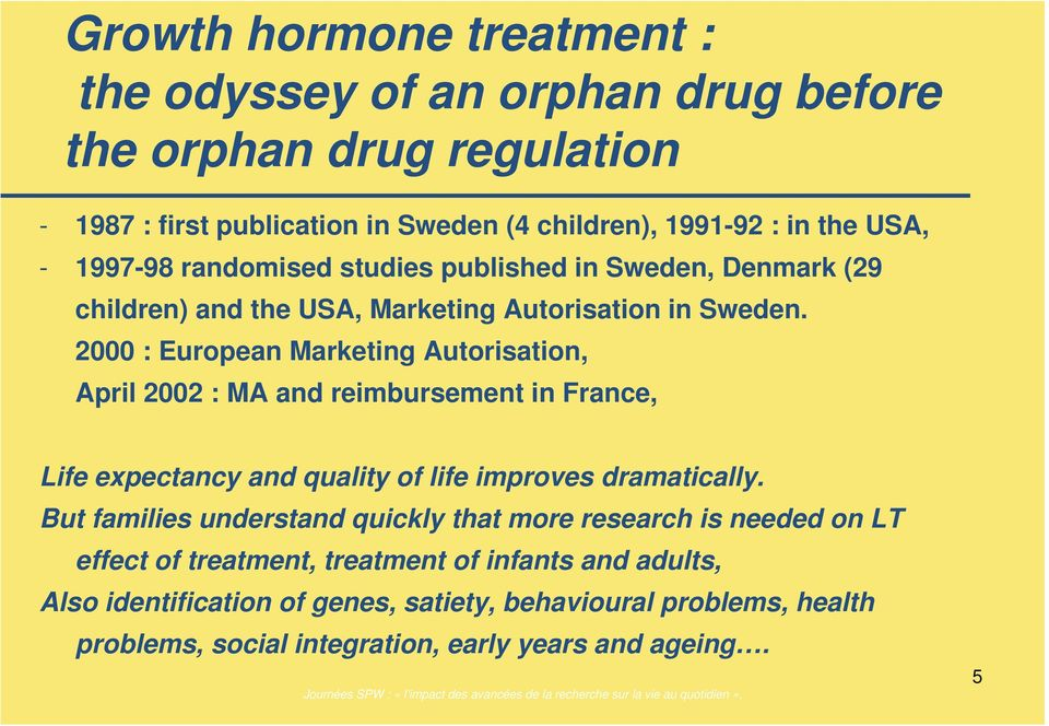 2000 : European Marketing Autorisation, April 2002 : MA and reimbursement in France, Life expectancy and quality of life improves dramatically.