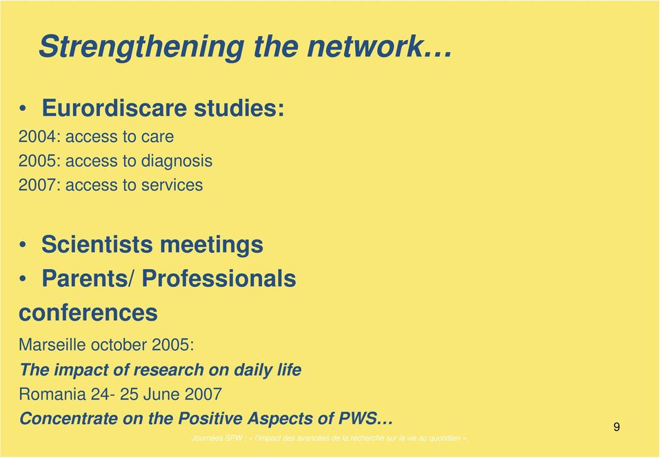 Professionals conferences Marseille october 2005: The impact of research on