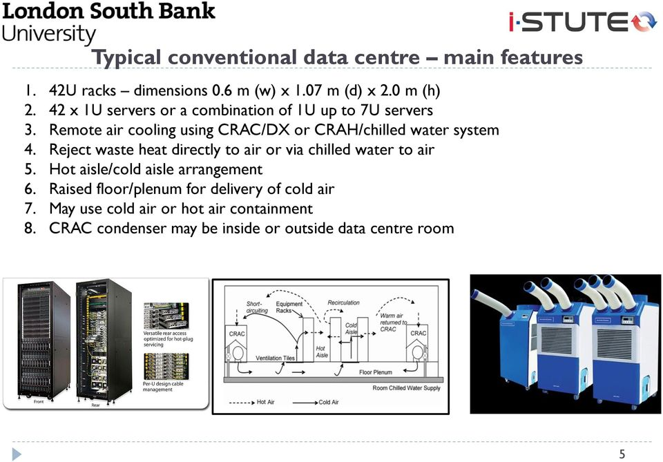 Remote air cooling using CRAC/DX or CRAH/chilled water system 4.