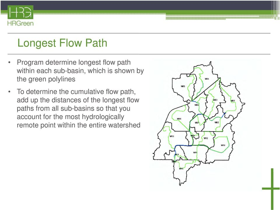 add up the distances of the longest flow paths from all sub-basins so that