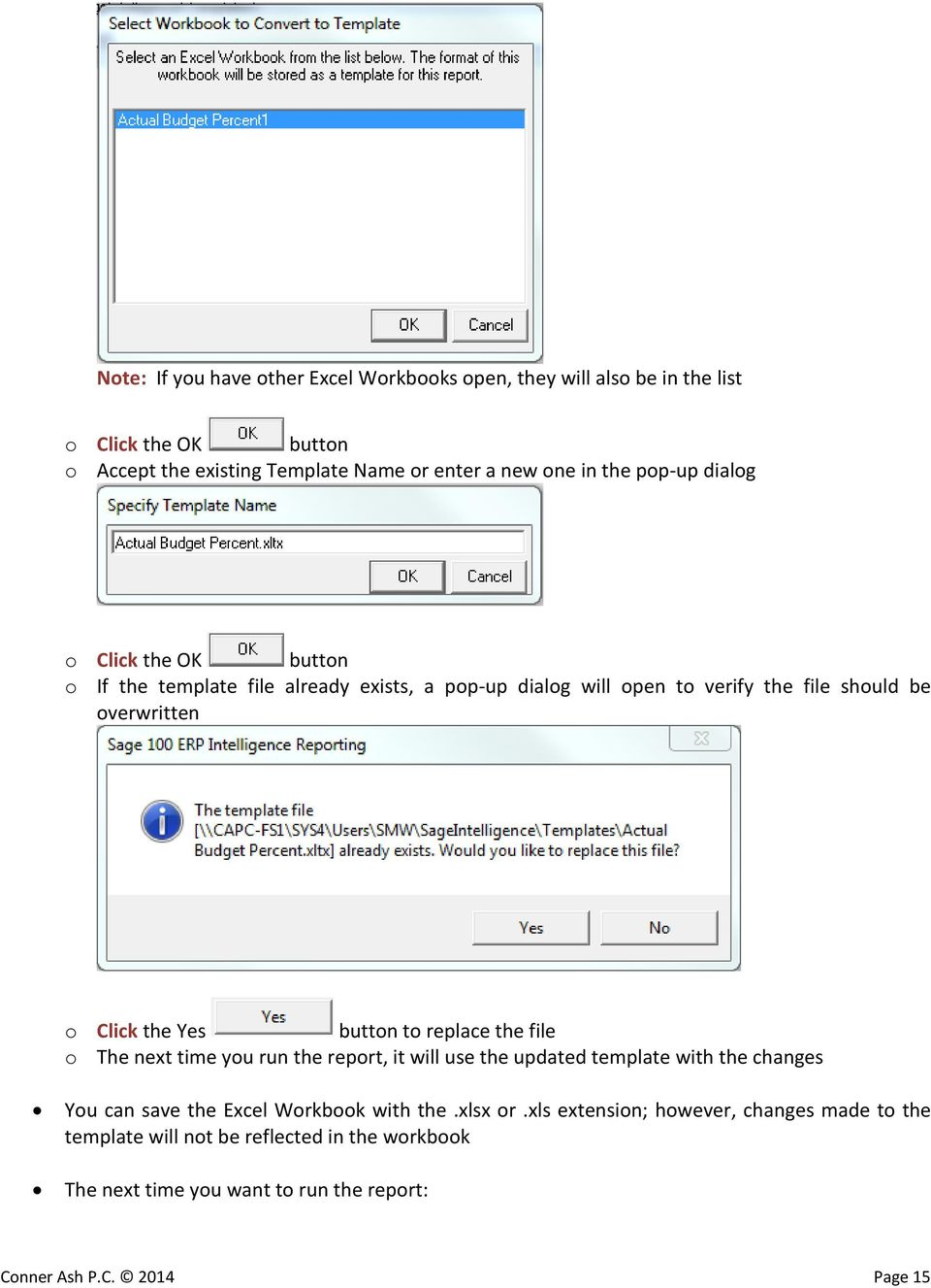 button to replace the file o The next time you run the report, it will use the updated template with the changes You can save the Excel Workbook with the.