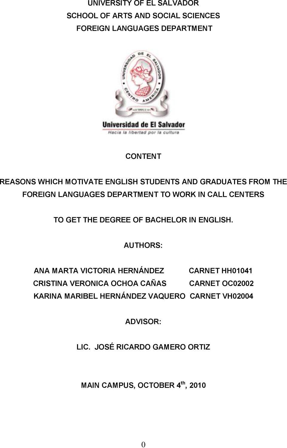 DEGREE OF BACHELOR IN ENGLISH.