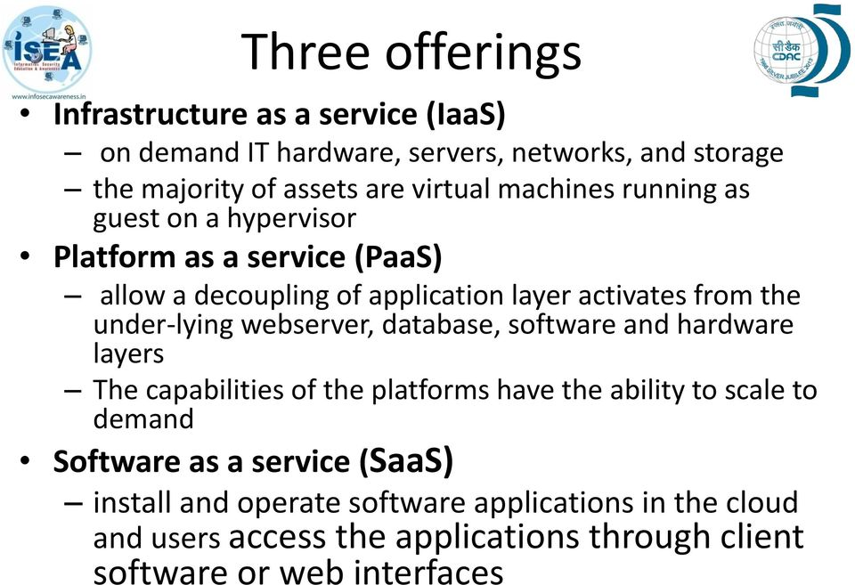 under-lying webserver, database, software and hardware layers The capabilities of the platforms have the ability to scale to demand Software