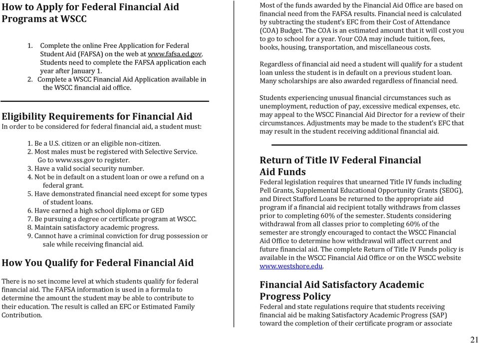Eligibility Requirements for Financial Aid In order to be considered for federal financial aid, a student must: 1. Be a U.S. citizen or an eligible non-citizen. 2.