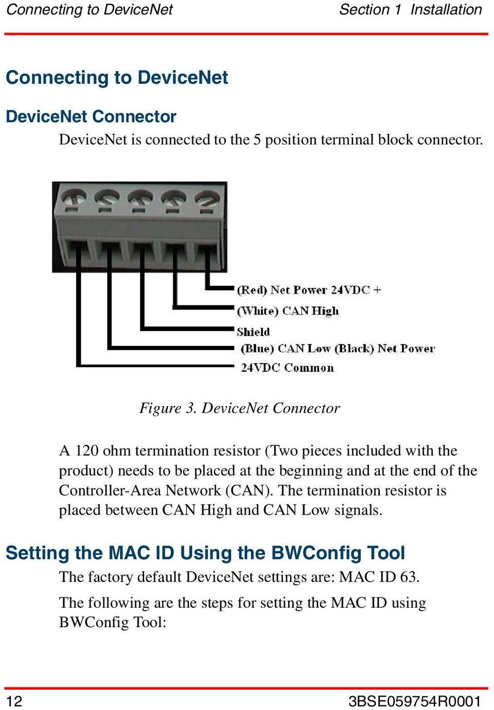 DeviceNet Connector A 120 ohm termination resistor (Two pieces included with the product) needs to be placed at the beginning and at the end of the