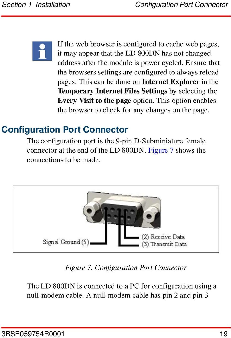 This option enables the browser to check for any changes on the page. Configuration Port Connector The configuration port is the 9-pin D-Subminiature female connector at the end of the LD 800DN.