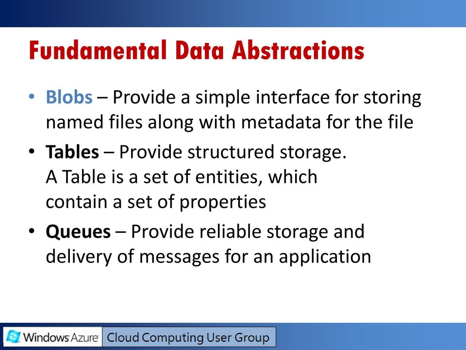 structured storage.