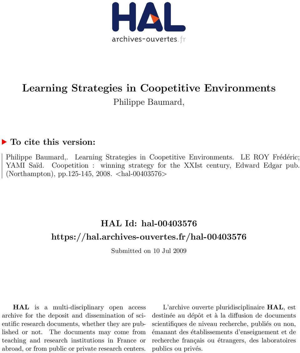 fr/hal-00403576 Submitted on 10 Jul 2009 HAL is a multi-disciplinary open access archive for the deposit and dissemination of scientific research documents, whether they are published or not.