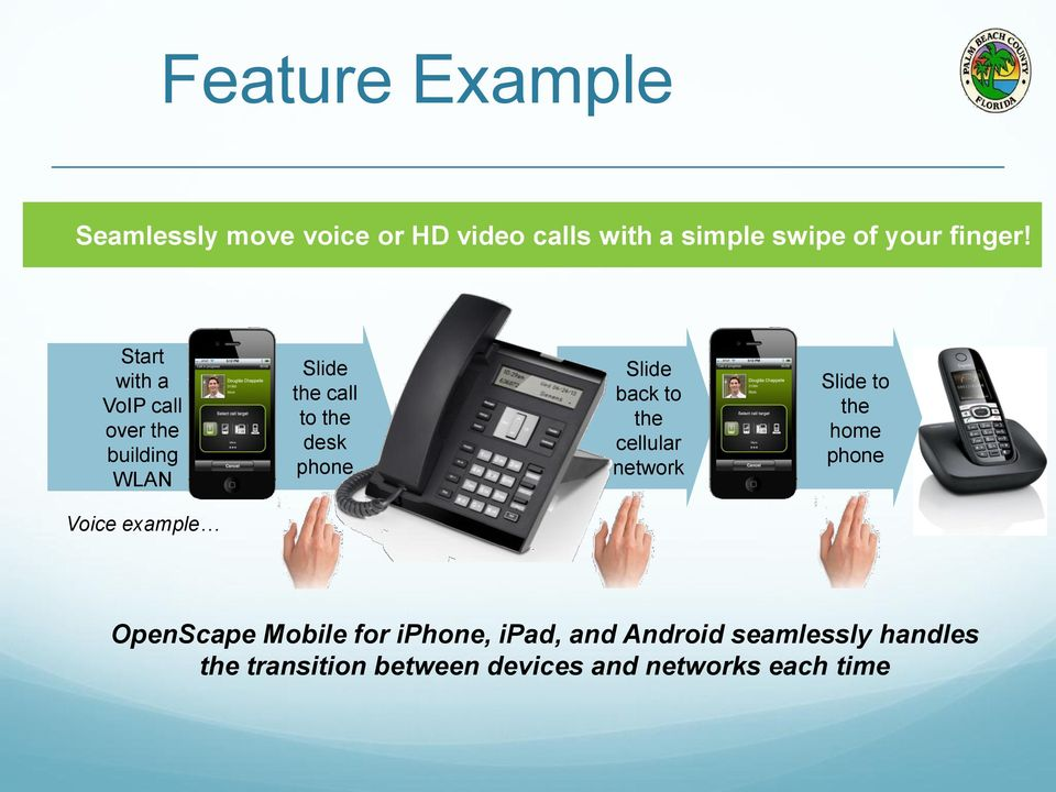 to the cellular network Slide to the home phone Voice example OpenScape Mobile for iphone,