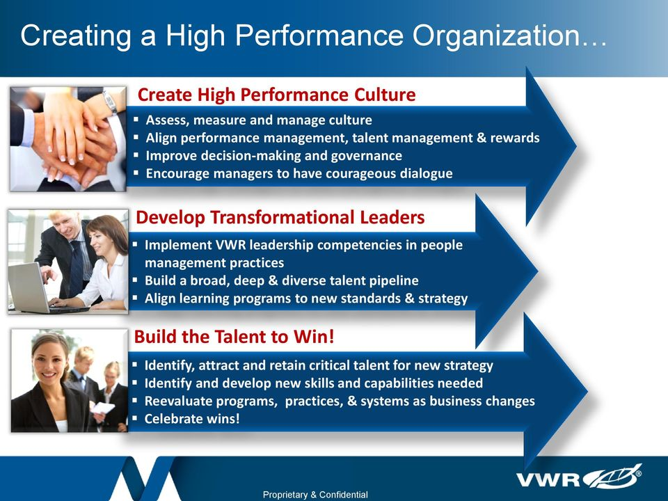 competencies in people management practices Build a broad, deep & diverse talent pipeline Align learning programs to new standards & strategy Build the Talent to Win!