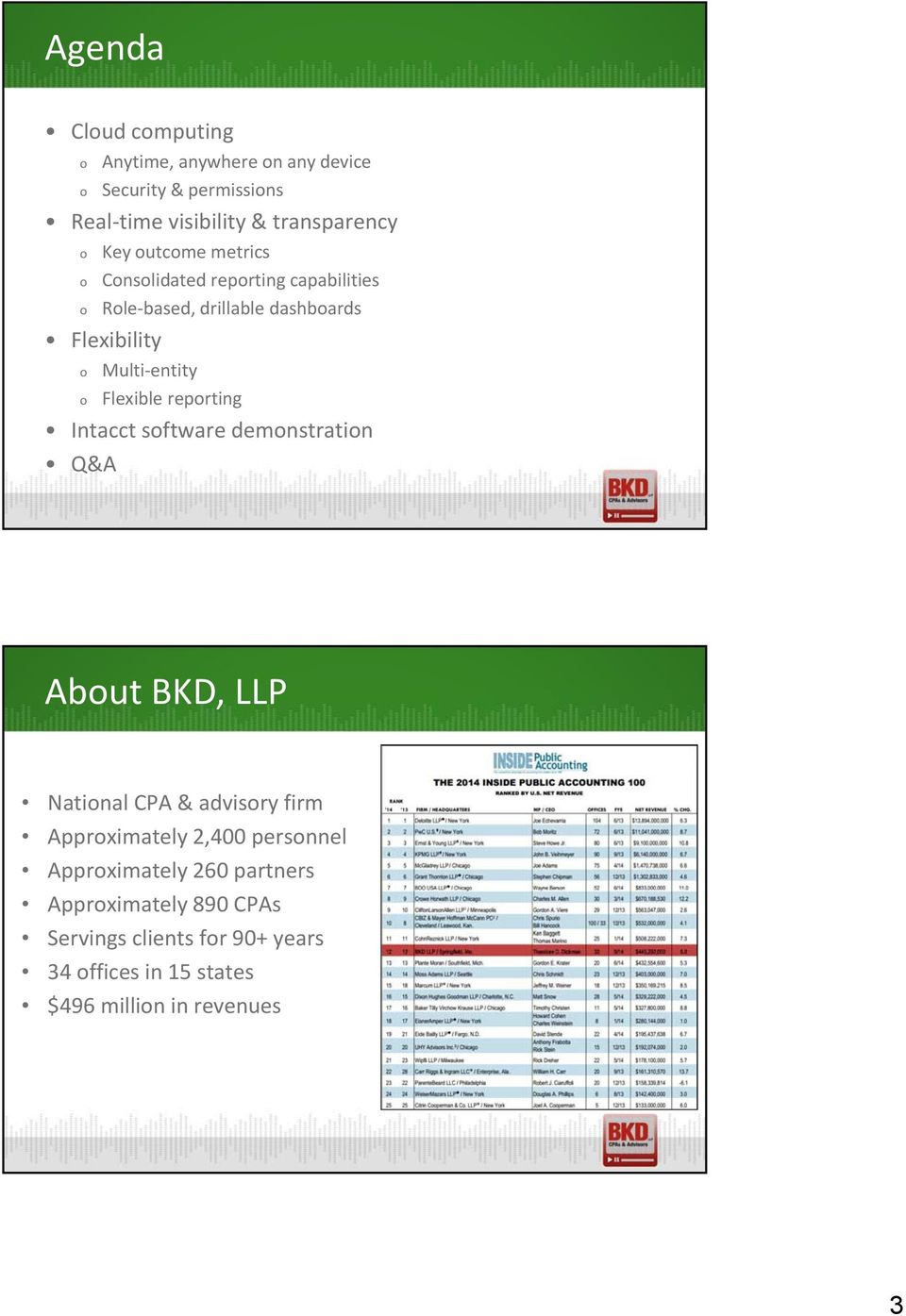 Flexible reporting Intacct software demonstration Q&A About BKD, LLP National CPA & advisory firm Approximately 2,400