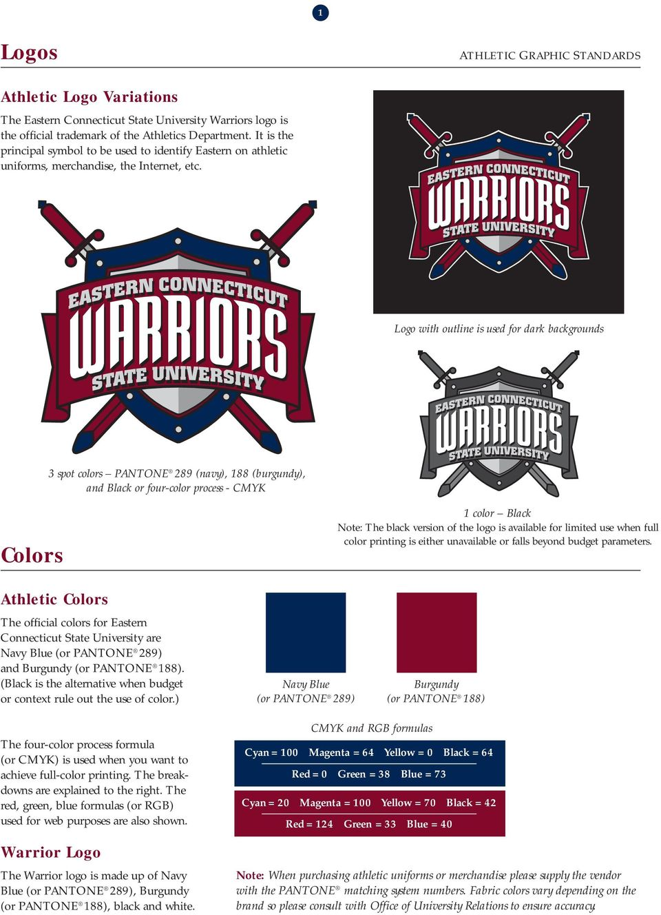 Logo with outline is used for dark backgrounds 3 spot colors PANTONE 289 (navy), 188 (burgundy), and Black or four-color process - CMYK Colors 1 color Black Note: The black version of the logo is