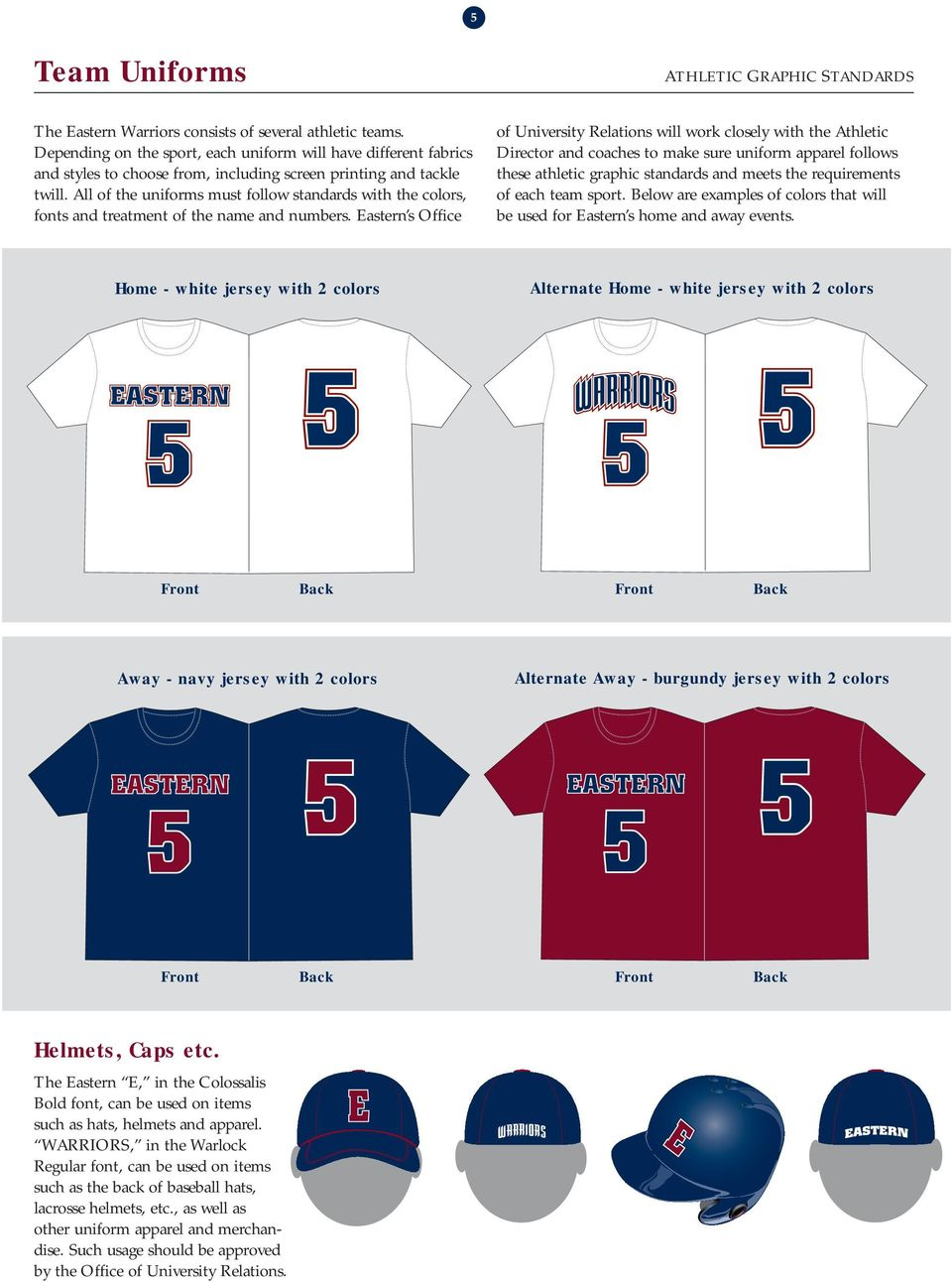 All of the uniforms must follow standards with the colors, fonts and treatment of the name and numbers.