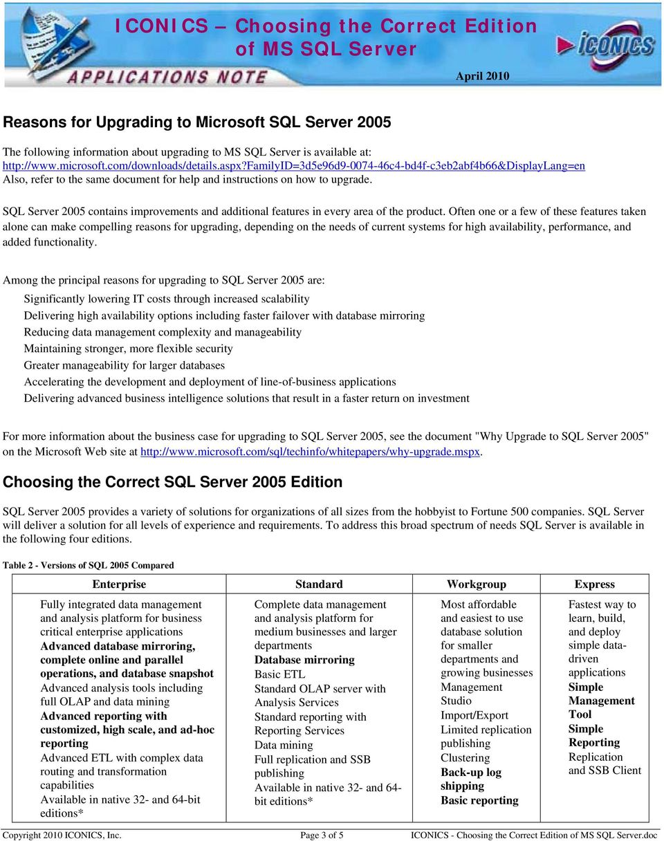 SQL Server 2005 contains improvements and additional features in every area of the product.