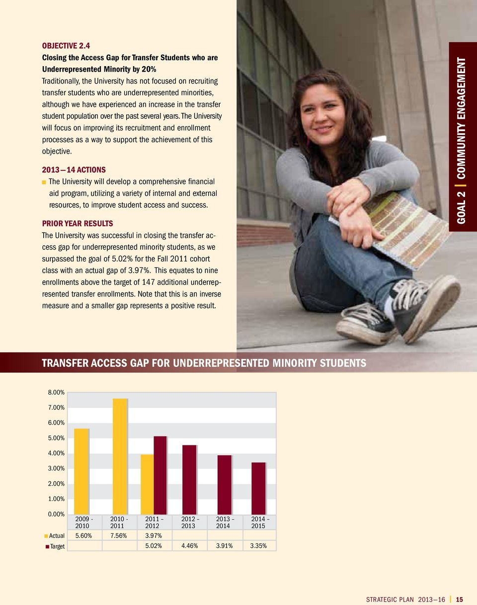 minorities, although we have experienced an increase in the transfer student population over the past several years.