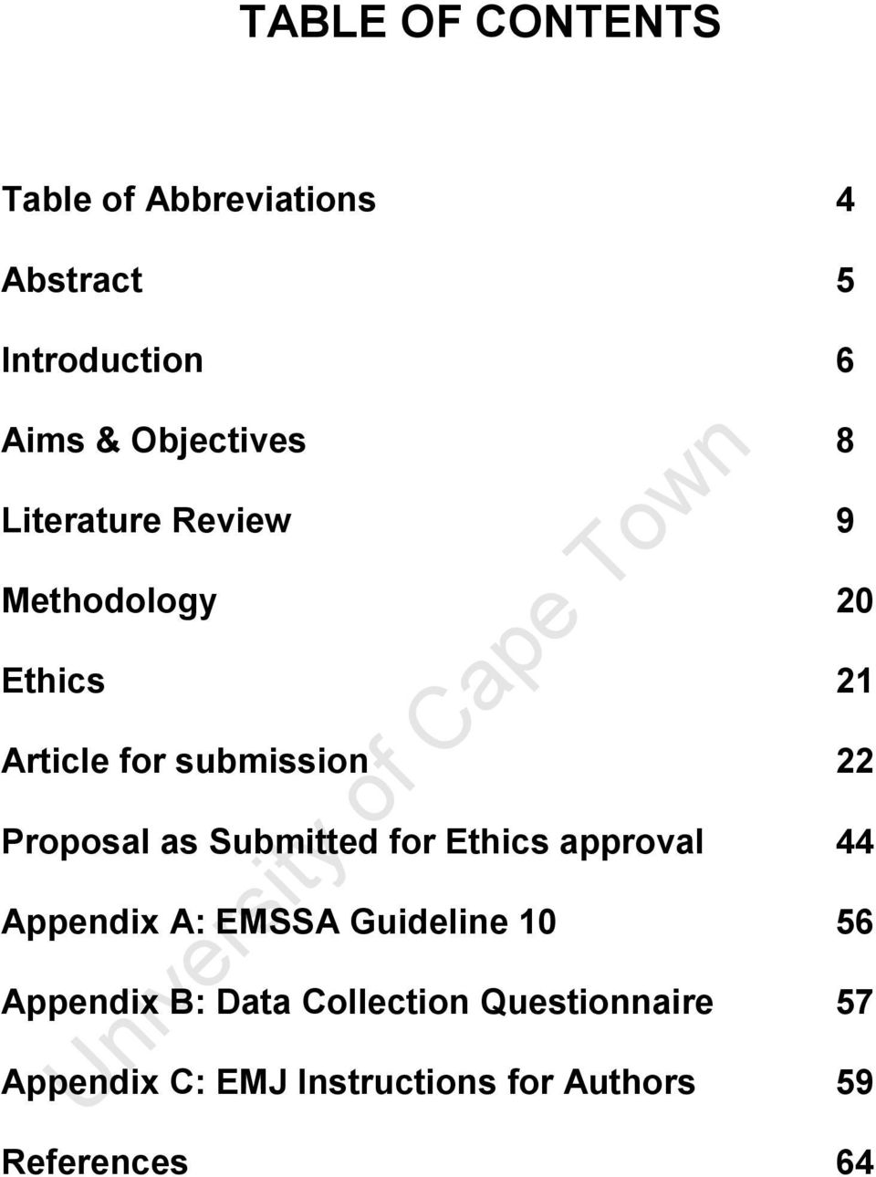 Proposal as Submitted for Ethics approval 44 Appendix A: EMSSA Guideline 10 56