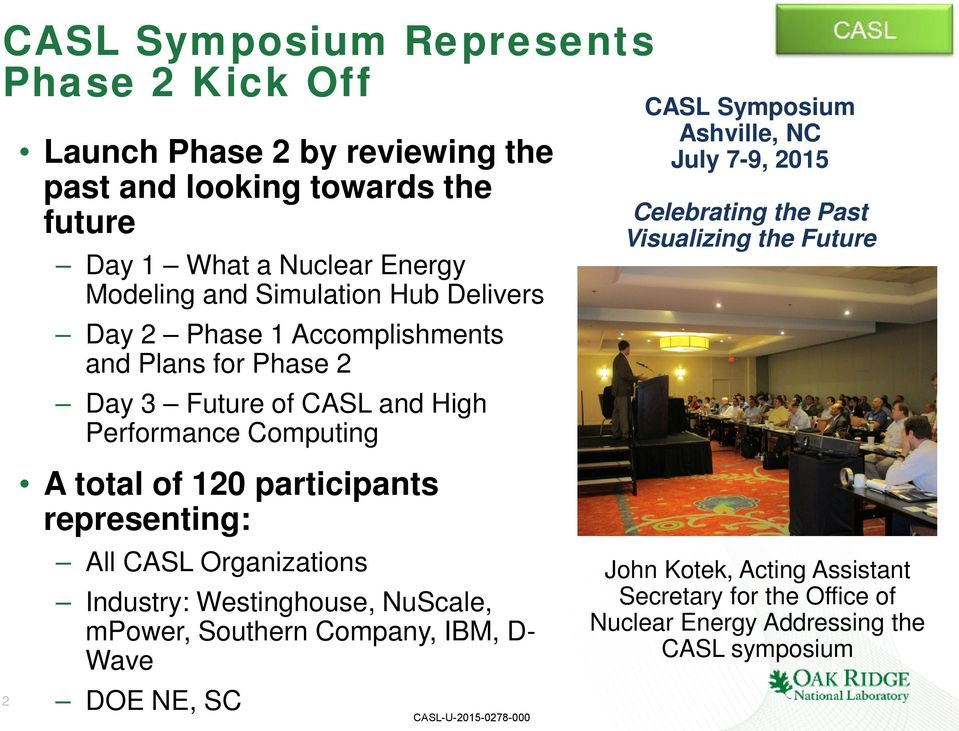 participants representing: All CASL Organizations Industry: Westinghouse, NuScale, mpower, Southern Company, IBM, D- Wave DOE NE, SC CASL Symposium