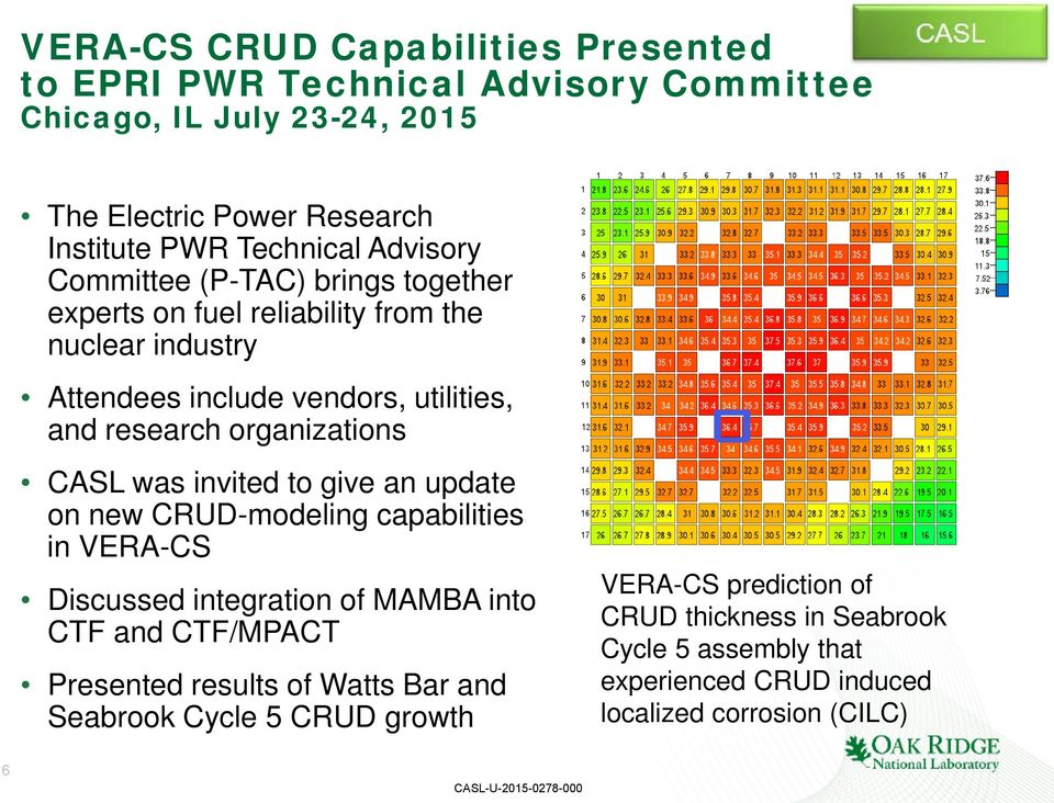 organizations CASL was invited to give an update on new CRUD-modeling capabilities in VERA-CS Discussed integration of MAMBA into CTF and CTF/MPACT Presented