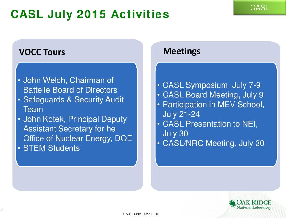 he Office of Nuclear Energy, DOE STEM Students CASL Symposium, July 7-9 CASL Board Meeting, July