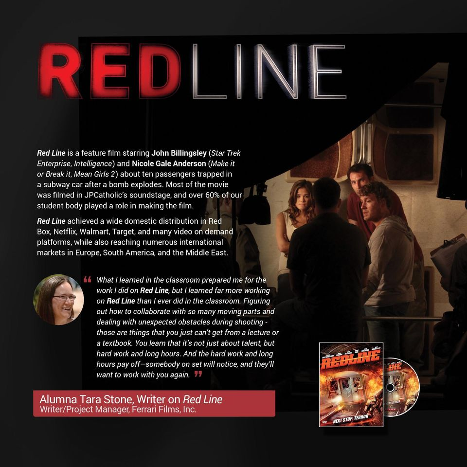 Red Line achieved a wide domestic distribution in Red Box, Netflix, Walmart, Target, and many video on demand platforms, while also reaching numerous international markets in Europe, South America,