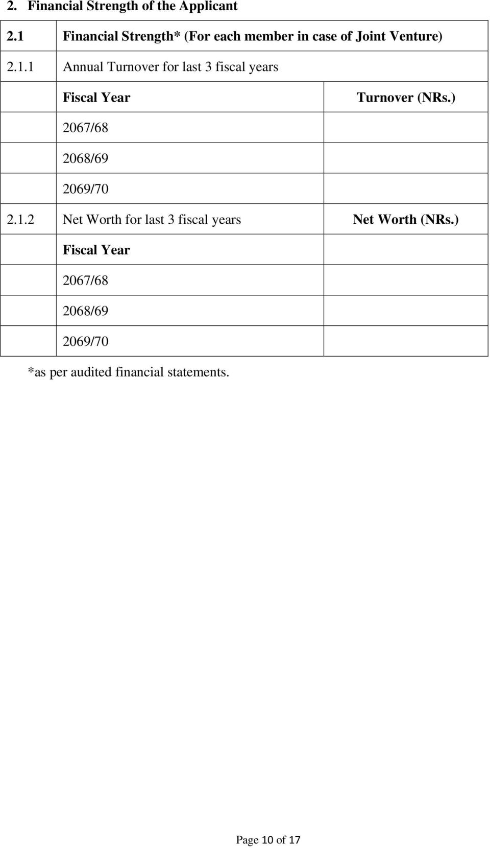 ) 2067/68 2068/69 2069/70 2.1.2 Net Worth for last 3 fiscal years Net Worth (NRs.