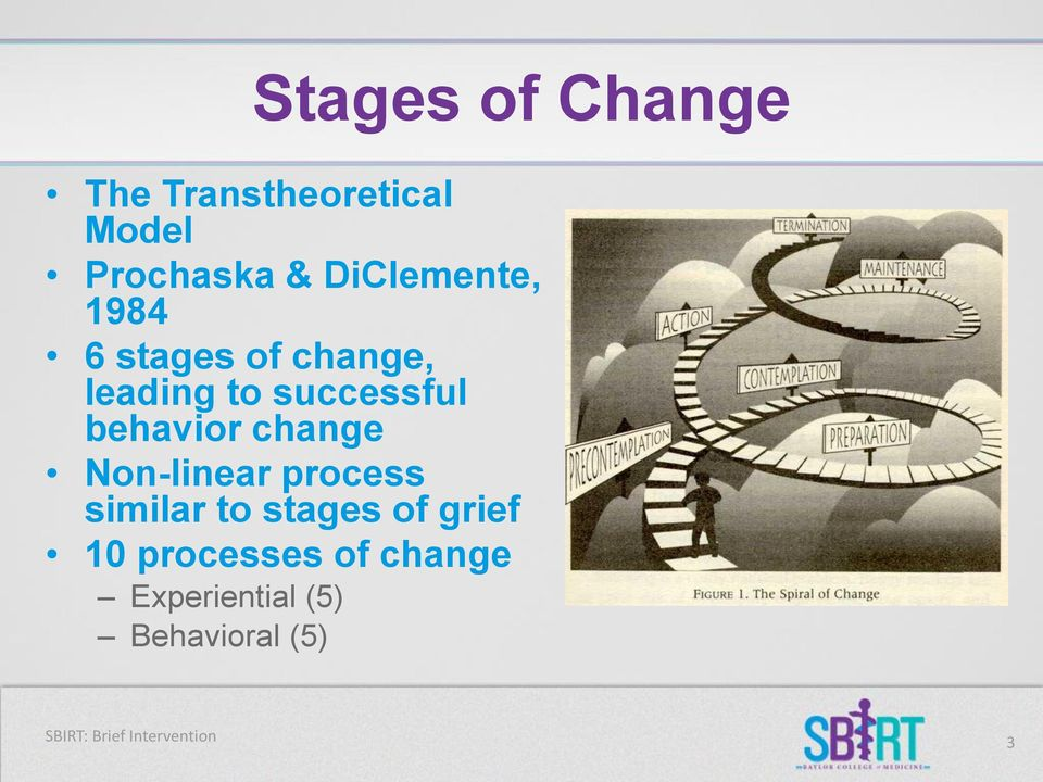 behavior change Non-linear process similar to stages of grief 10