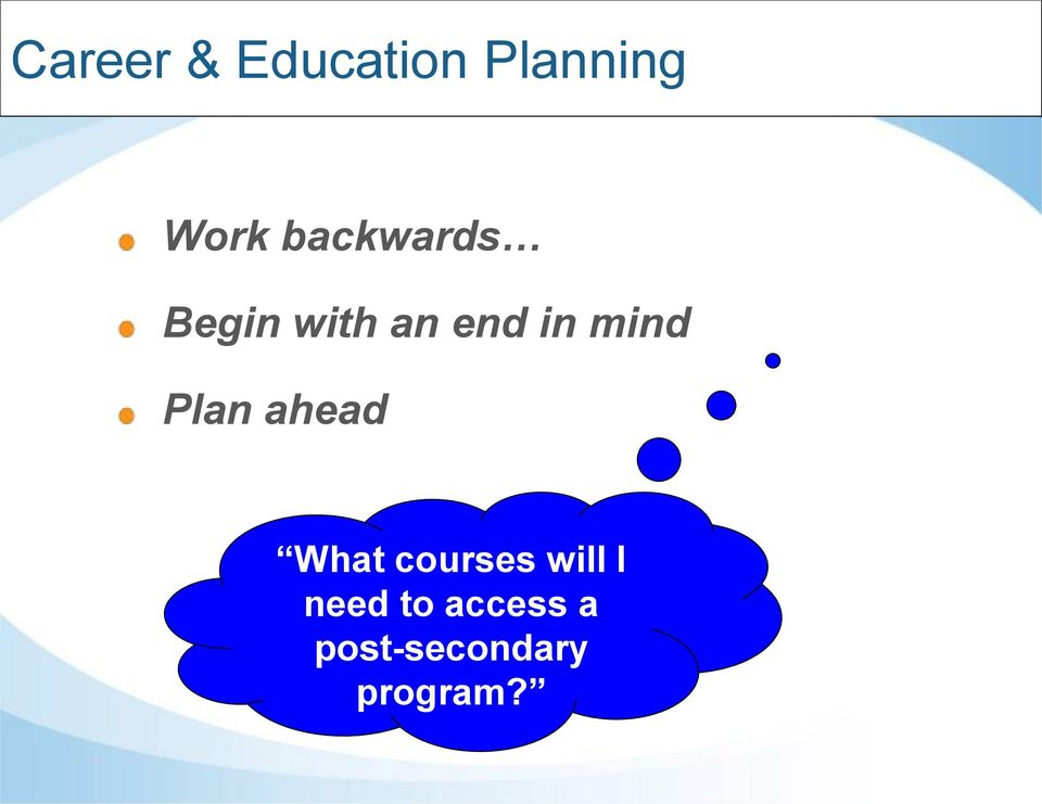 mind Plan ahead What courses will