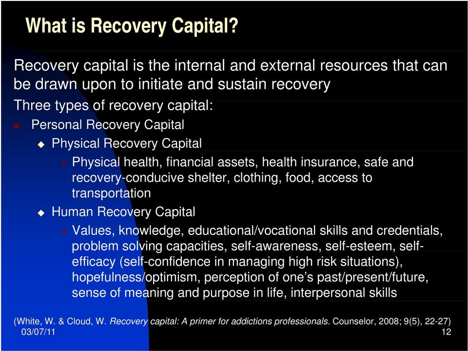 Physical health, financial assets, health insurance, safe and recovery-conducive shelter, clothing, food, access to transportation Human Recovery Capital Values, knowledge, educational/vocational