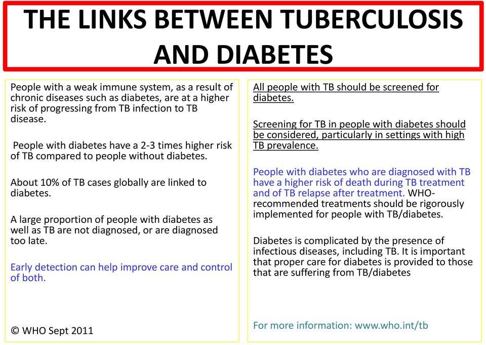 A large proportion of people with diabetes as well as TB are not diagnosed, or are diagnosed too late. Early detection can help improve care and control of both.