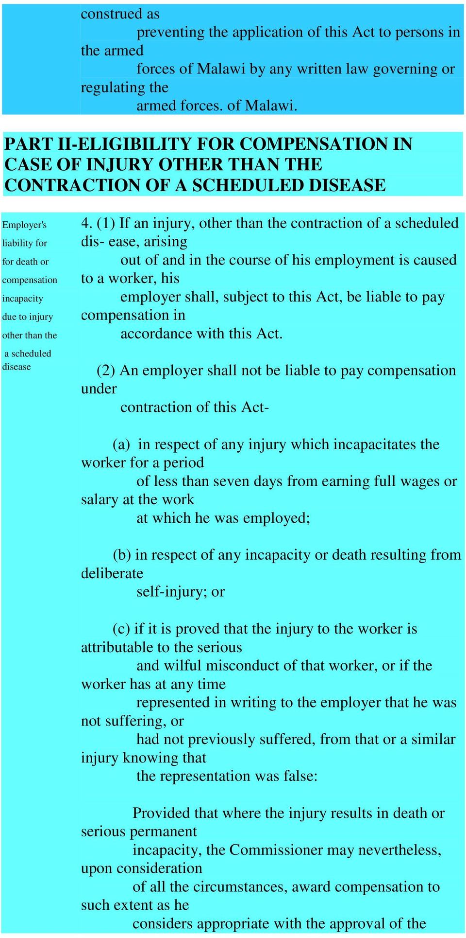 PART II-ELIGIBILITY FOR COMPENSATION IN CASE OF INJURY OTHER THAN THE CONTRACTION OF A SCHEDULED DISEASE Employer's liability for for death or compensation incapacity due to injury other than the a