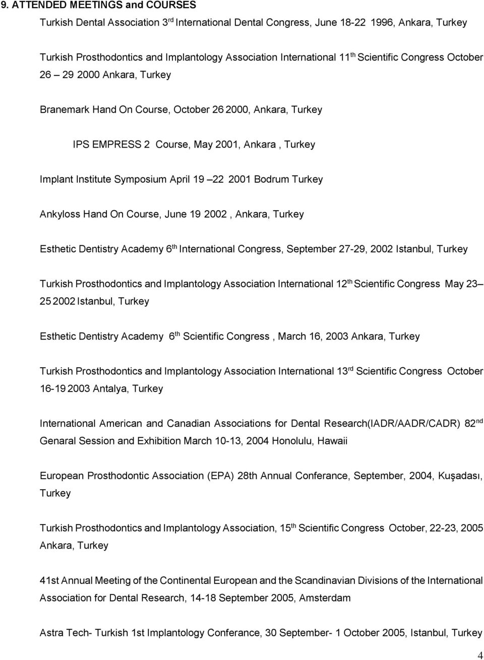 2001 Bodrum Turkey Ankyloss Hand On Course, June 19 2002, Ankara, Turkey Esthetic Dentistry Academy 6 th International Congress, September 27-29, 2002 Istanbul, Turkey Turkish Prosthodontics and