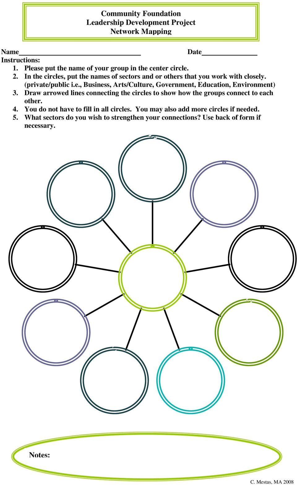 Draw arrowed lines connecting the circles to show how the groups connect to each other. 4. You do not have to fill in all circles.