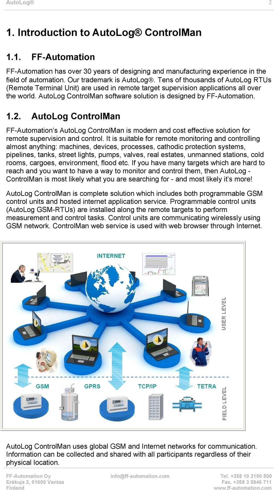 AutoLog ControlMan FF-Automation s AutoLog ControlMan is modern and cost effective solution for remote supervision and control.
