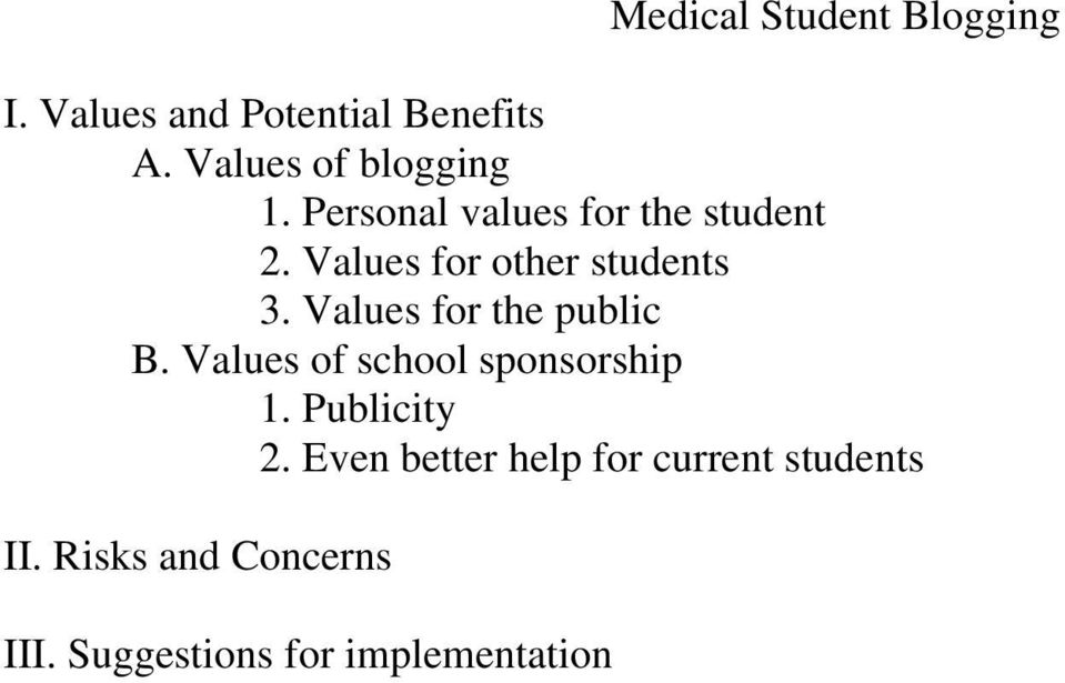 Values for other students 3. Values for the public B.
