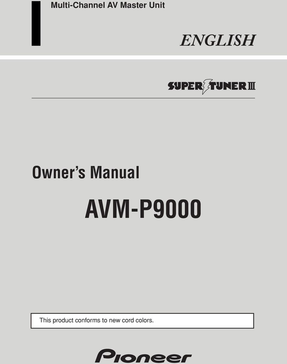 Product Owner s Manual AVM-P9000