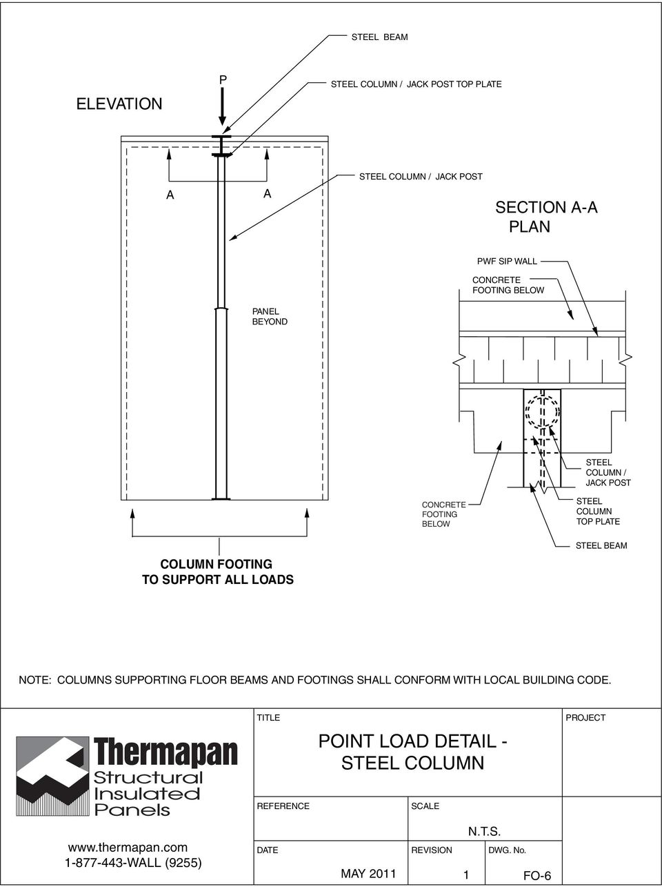 COLUMN TOP PLATE COLUMN FOOTING TO SUPPORT ALL LOADS STEEL BEAM NOTE: COLUMNS SUPPORTING FLOOR BEAMS AND