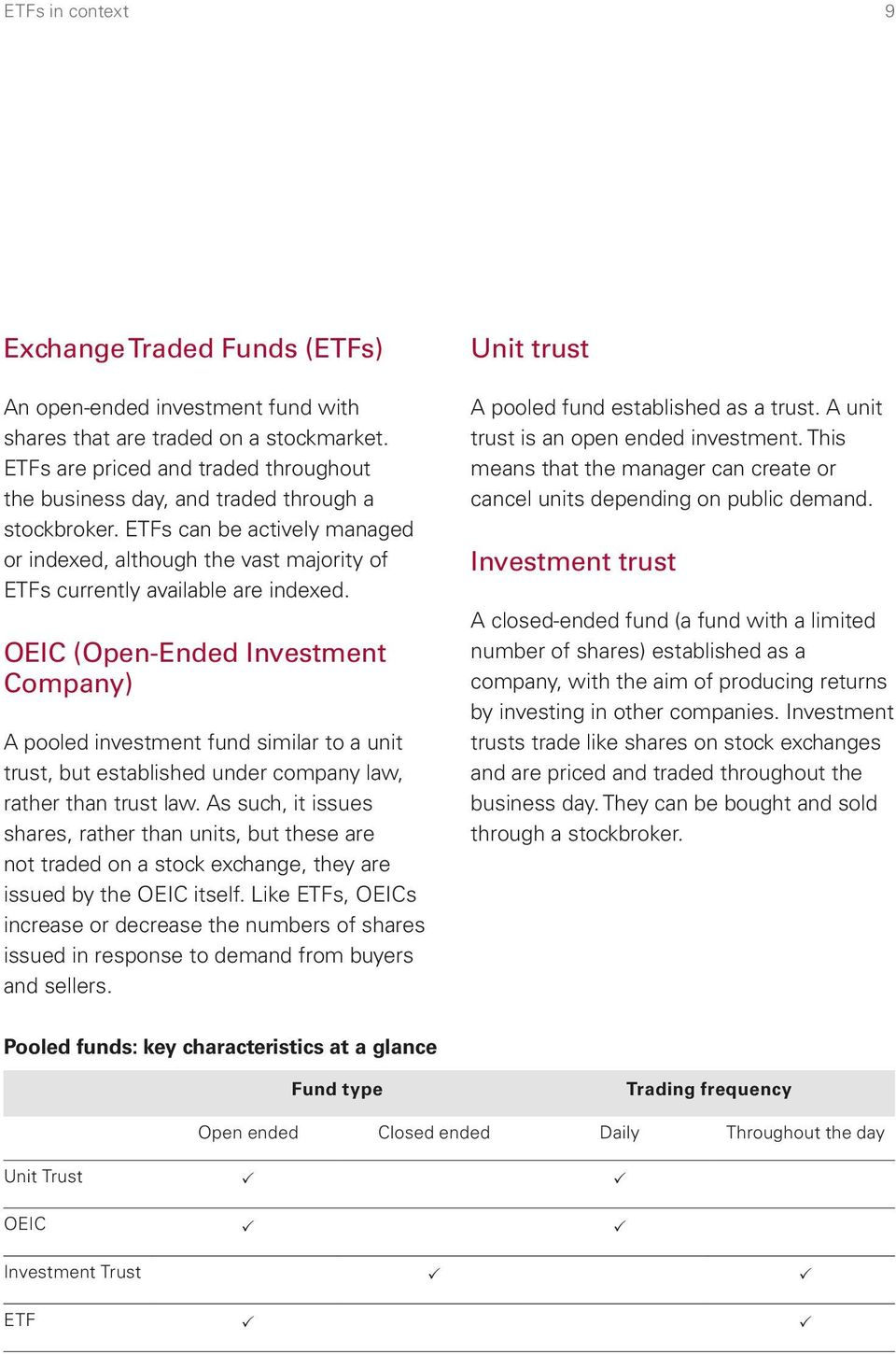 OEIC (Open-Ended Investment Company) A pooled investment fund similar to a unit trust, but established under company law, rather than trust law.