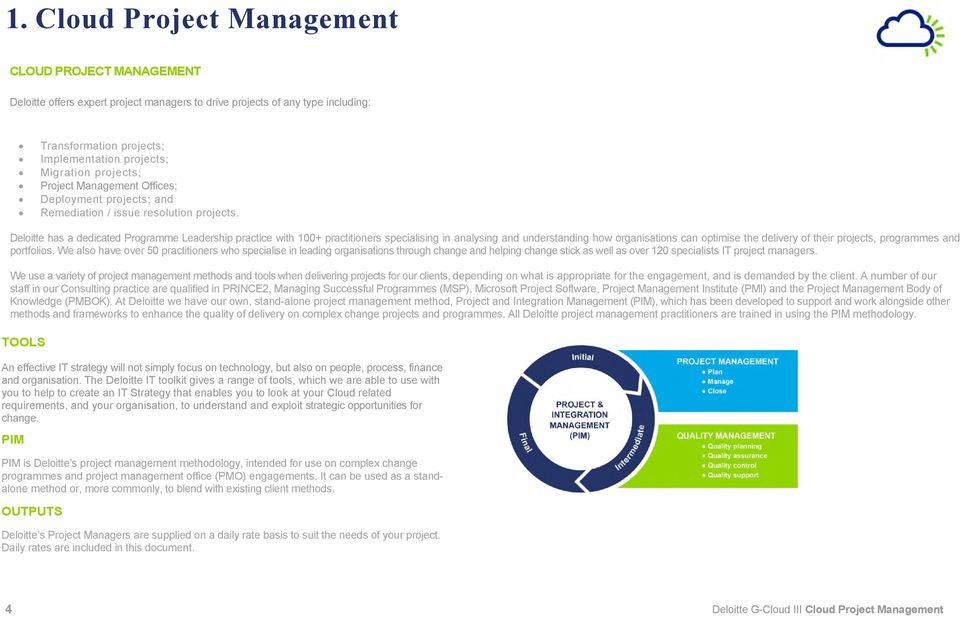 projects; Project Management Offices; Deployment projects; and Remediation / issue resolution projects.