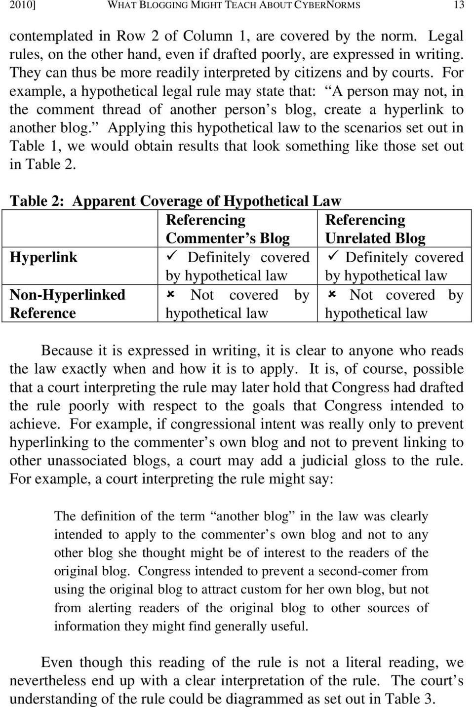 For example, a hypothetical legal rule may state that: A person may not, in the comment thread of another person s blog, create a hyperlink to another blog.