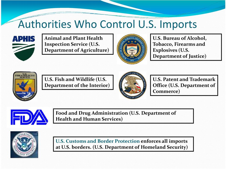 S. Department of Health and Human Services) U.S. Customs and Border Protection enforces all imports at US U.S. borders. (U.S. Department of Homeland Security)