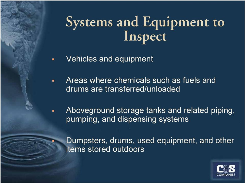 Aboveground storage tanks and related piping, pumping, and