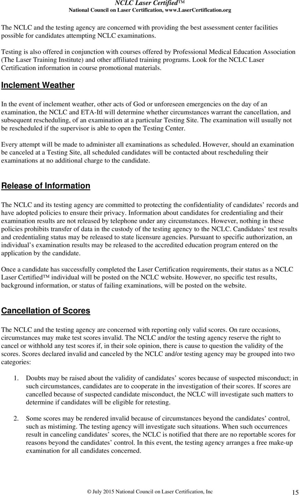 Nclc Laser Certified National Council On Laser Certification N C L