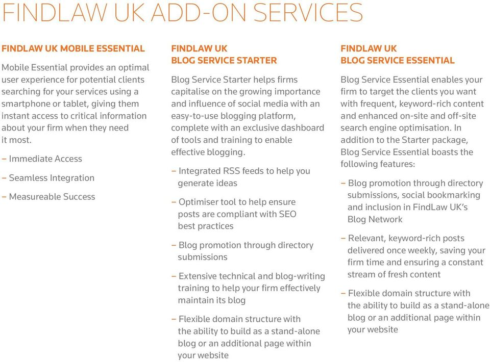 Immediate Access Seamless Integration Measureable Success FINDLAW UK BLOG SERVICE STARTER Blog Service Starter helps firms capitalise on the growing importance and influence of social media with an