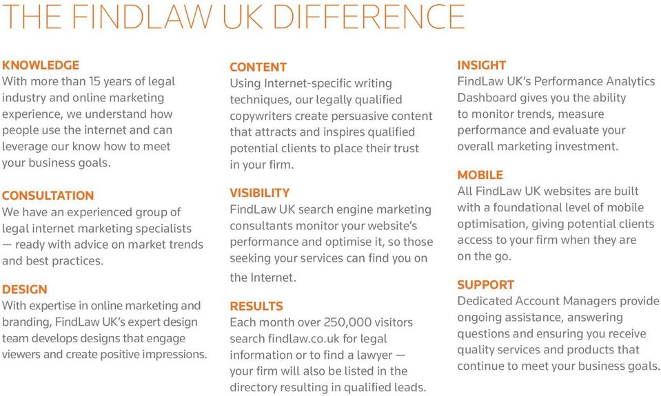 DESIGN With expertise in online marketing and branding, FindLaw UK s expert design team develops designs that engage viewers and create positive impressions.