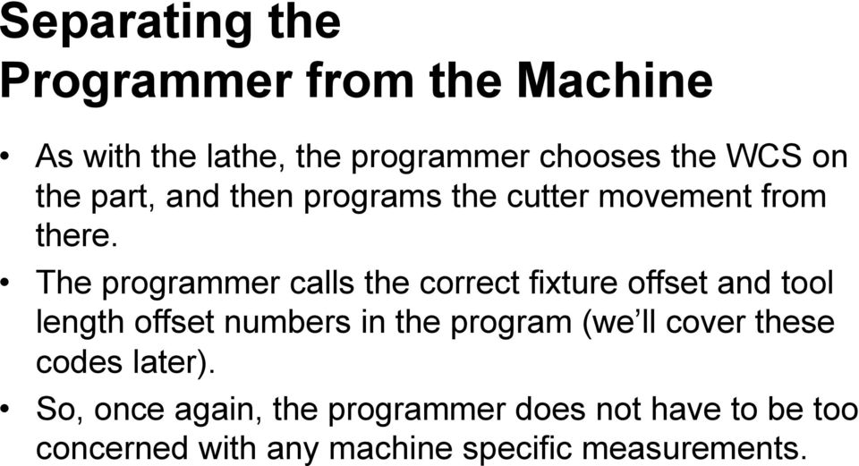 The programmer calls the correct fixture offset and tool length offset numbers in the program